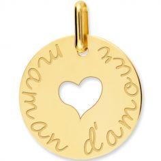 Médaille maman d'amour coeur ajouré personnalisable (or jaune 750°)