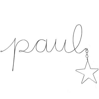 Déco murale en fil de fer Prénom et étoile (personnalisable)  par De Beaux Souvenirs