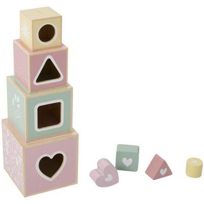 Cubes empilables à encastrement Adventure pink (4 pièces)  par Little Dutch