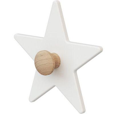 Porte-manteau mural étoile en bois de hêtre brut Essentiel blanc  par AT4