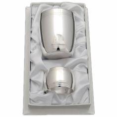 Coffret timbale et rond de serviette Tonneau Filet personnalisable (métal argenté)