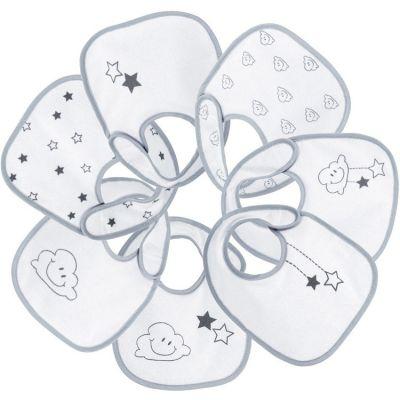 Lot de 7 bavoirs de naissance Nuage gris  par Trois Kilos Sept