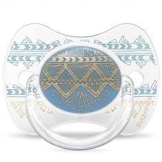 Sucette anatomique réversible Couture Ethnic bleu et doré en silicone (4-18 mois)