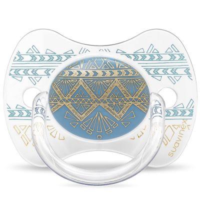 Sucette anatomique réversible Couture Ethnic bleu et doré en silicone (4-18 mois)  par Suavinex