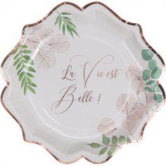 Lot de 8 assiettes en carton La vie est belle Botanique rose gold
