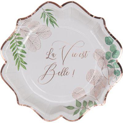 Lot de 8 assiettes en carton La vie est belle Botanique rose gold  par Arty Fêtes Factory