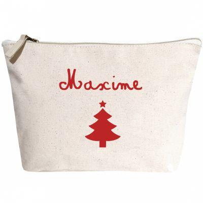 Trousse de Noël à motif rouge (personnalisable)