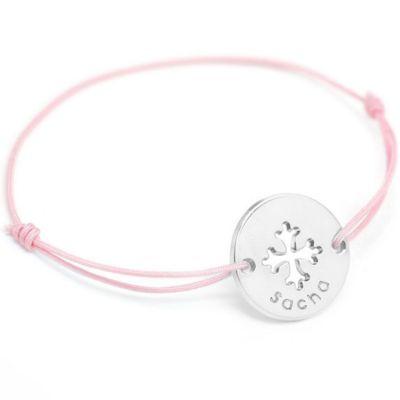 Bracelet cordon Mini jeton Croix occitane (argent 925°)  par Petits trésors