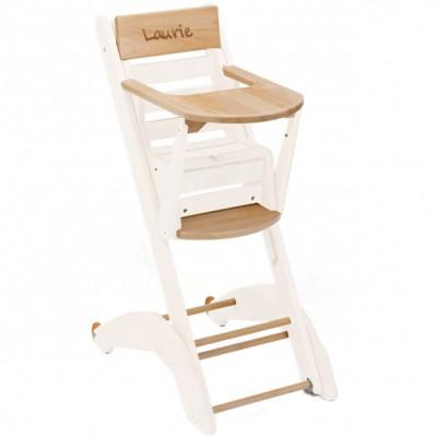 chaise haute multipositions twenty one evo en bois massif laqu blanc personnalisable par combelle. Black Bedroom Furniture Sets. Home Design Ideas