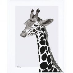 Affiche encadrée la girafe (30 x 40 cm)