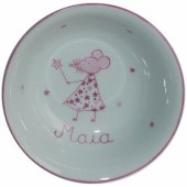 Coupelle en porcelaine souris rose personnalisable - Laetitia Socirat