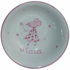 Coupelle en porcelaine souris rose personnalisable