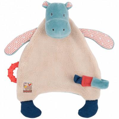 Doudou attache sucette hippopotame Les Papoum  par Moulin Roty