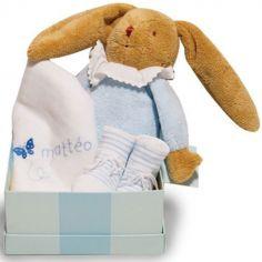 Coffret de naissance bleu (personnalisable)