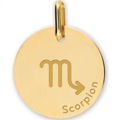 Médaille zodiaque Scorpion personnalisable (or jaune 375°)