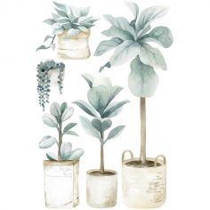 Grand sticker Greenery plantes et pots (96 x 64 cm)
