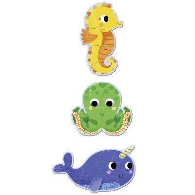 Lot de 3 petits puzzles Primo Dans la mer (4 à 9 pièces)  par Djeco