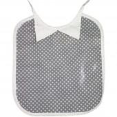 Bavoir à nouer plastifié col chemise Ronds dans les Etoiles étoilé gris  - Les Petits Vintage