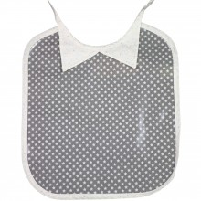 Bavoir à nouer plastifié col chemise Ronds dans les Etoiles étoilé gris  par Les Petits Vintage