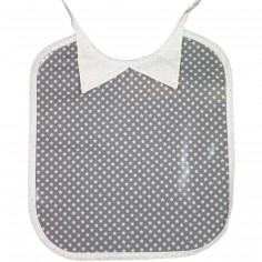 Bavoir à nouer plastifié col chemise Ronds dans les Etoiles étoilé gris