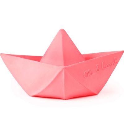 Jouet de bain bateau origami latex d'hévéa rose  par Oli & Carol