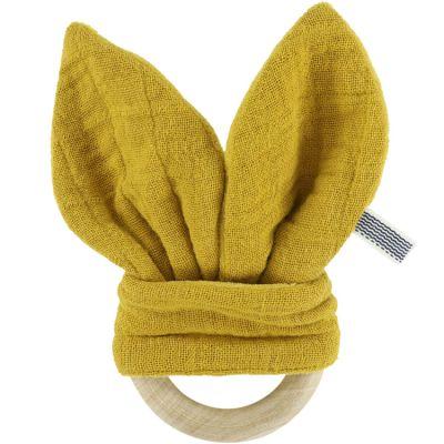 Anneau de dentition en bois Bliss jaune moutarde  par Les Rêves d'Anaïs