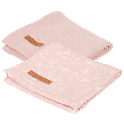 Lot de 2 langes en coton Wild Flowers pink (70 x 70 cm)  par Little Dutch