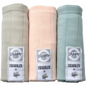 Lot de 3 langes Scandi Solid beige, rose, vert (70 x 70 cm) - Lodger