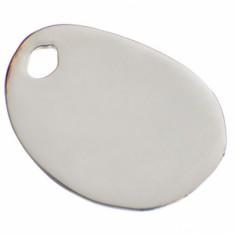 Bracelet empreinte gros galet 29 mm trou sur cordon (or blanc 750°)
