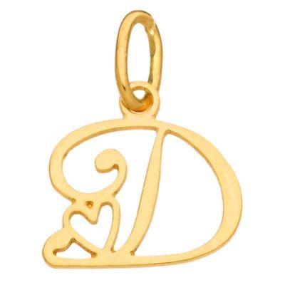 Pendentif initiale D (or jaune 750°)  par Berceau magique bijoux