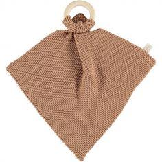 Doudou plat tricoté avec anneau en bois marron So Natural