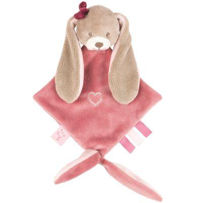 Mini doudou attache sucette Nina le lapin (20 x 30 cm) Nattou