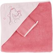 Cape de bain et gant rose mia et Victoria - Noukie's