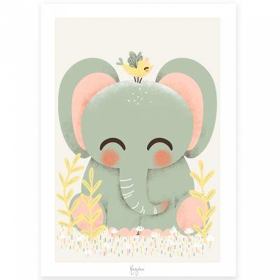 Affiche A4 Les Animignons l'éléphant  par Kanzilue
