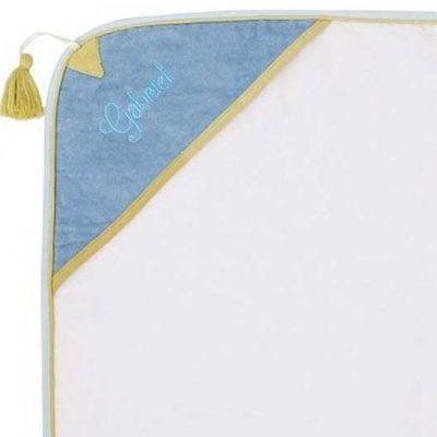 Cape de bain Chien taquin écru et bleu personnalisable (82 x 88 cm)  par L'oiseau bateau