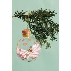 Boule de Noël en verre transparente (12 messages souvenirs)