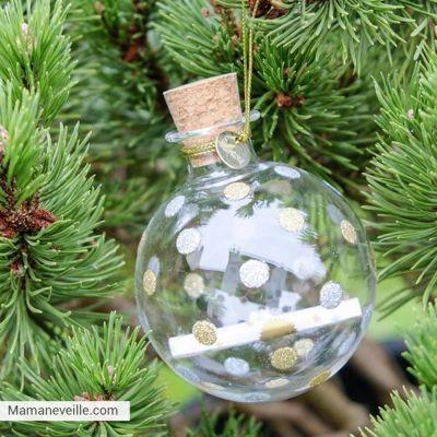 Boule De Noel A Customiser.Boule De Noël En Verre Transparente 12 Messages Souvenirs