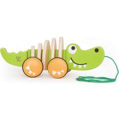 Jouet à tirer en bois crocodile