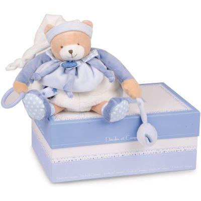 Coffret pantin d'activités Petit chou bleu clair (30 cm)  par Doudou et Compagnie