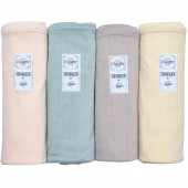 Lot de 4 maxi langes Scandi Solid rose, vert, beige, jaune (120 x 120 cm) - Lodger