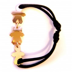 Bracelet cordon 3 enfants 15 mm (or jaune 750°)