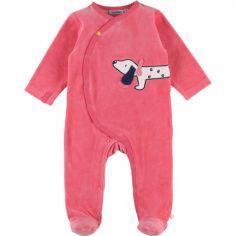 Pyjama chaud en velours Amy & Zoé chien rose (3 mois)