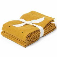 Lot de 2 langes Hannah Classic dot mustard (70 x 70 cm)