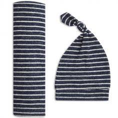 Coffret cadeau naissance maxi lange et bonnet en maille navy stripe (0-3 mois)