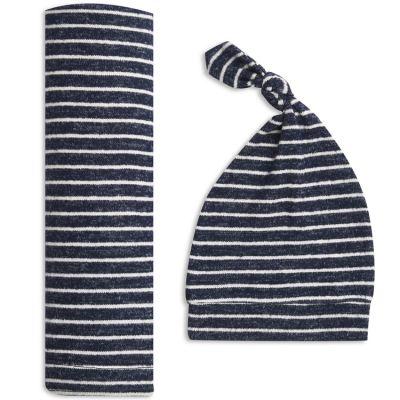 Coffret cadeau naissance maxi lange et bonnet en maille navy stripe (0-3 mois)  par aden + anais