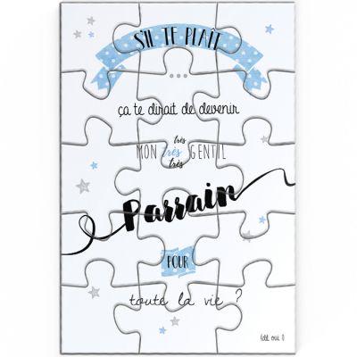 Puzzle de demande de parrain (10 x 15 cm)  par La Poupette à paillettes