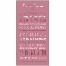 Affiche adhésive Merci Nounou personnalisable rose blush (45 x 90 cm)  par Mes Mots Déco