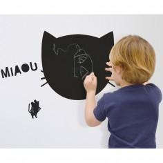 Sticker mural pense-bête en ardoise Miaou