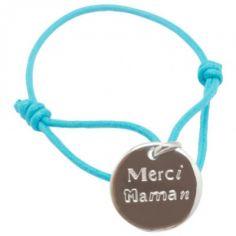 Bracelet cordon Merci Maman (argent 925°)