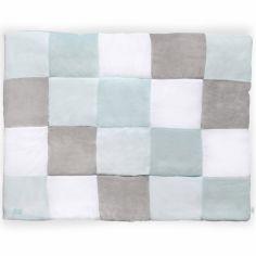 Tapis de jeu patchwork vert jade et gris (80 x 100 cm)